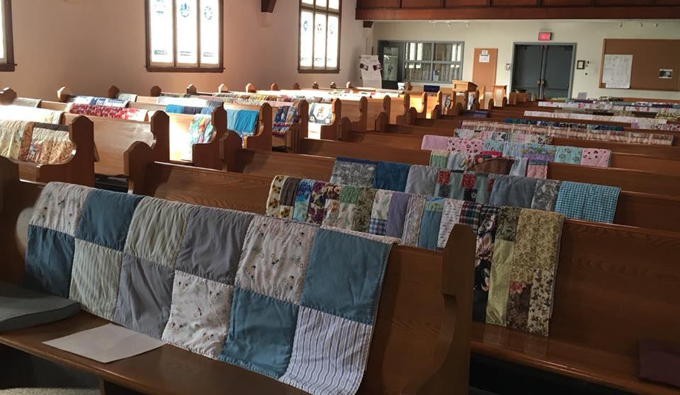 Blankets waiting to be blessed